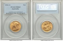 Victoria gold Sovereign 1901-S MS63 PCGS, Sydney mint, KM13. AGW 0.2355 oz.   HID09801242017  © 2020 Heritage Auctions | All Rights Reserve