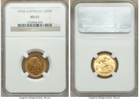 Edward VII gold 1/2 Sovereign 1910-S MS62 NGC, Sydney mint, KM14. A nearly fully struck example of the final Australian Edward VII 1/2 Sovereign.   HI...