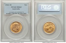 Edward VII gold Sovereign 1902-M MS63 PCGS, Melbourne mint, KM15. Showing usual softness to the highest points, with glistening golden fields and only...