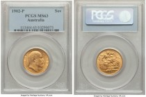 Edward VII gold Sovereign 1902-P MS63 PCGS, Perth mint, KM15. Satiny and displaying a sound strike.   HID09801242017  © 2020 Heritage Auctions | All R...
