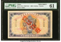 China Ta Ch'Ing Government Bank, Tientsin 5 Dollars 1.9.1906 Pick A73s S/M#T10-2 Specimen PMG Uncirculated 61. A scarce and impressive offering, at th...