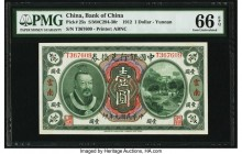China Bank of China, Yunnan 1 Dollar 1.6.1912 Pick 25s S/M#C294-30r PMG Gem Uncirculated 66 EPQ. An impressive, pack fresh example, this initial denom...