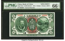 China Bank of China 1 Dollar 1.6.1912 Pick 25s1 S/M#C294-30 Specimen PMG Gem Uncirculated 66 EPQ. This handsome Specimen is a perfect representation o...