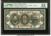 China Bank of China 5 Dollars, Yunnan 1.6.1912 Pick 26r S/M#C294-31r PMG About Uncirculated 53. A widely popular banknote, this variety is met with gr...
