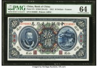 China Bank of China, Yunnan 10 Dollars 1.6.1912 Pick 27r S/M#C294-32r PMG Choice Uncirculated 64. Representing the lone Uncirculated graded example in...