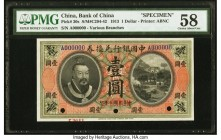 China Bank of China 1 Dollar 1.6.1913 Pick 30s S/M#C294-42 Specimen PMG Choice About Unc 58. A scarce type in both issued and Specimen form, this Pick...