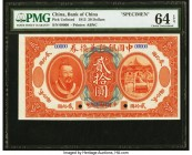 China Bank of China 20 Dollars 1.6.1913 Pick UNL Specimen PMG Choice Uncirculated 64 EPQ. The Standard Catalog lists and acknowledges denominations of...