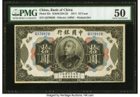 China Bank of China 10 Yuan 4.10.1914 Pick 35r S/M#C294-52 Remainder PMG About Uncirculated 50. A handsome Remainder, examples are quite rare in this ...