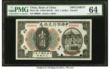 China Bank of China, Tientsin 1 Dollar 1.5.1917 Pick 38s S/M#C294-80 Specimen PMG Choice Uncirculated 64. A rarely-seen Specimen from this early serie...