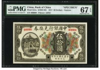 China Bank of China, Tientsin 50 Dollars 1.5.1917 Pick 54As S/M#C294 Specimen PMG Superb Gem Unc 67 EPQ. A rare Specimen of the second highest denomin...