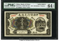 China Bank of China, Tientsin 100 Dollars 1.5.1917 Pick 54Cs S/M#C294-103 Specimen PMG Choice Uncirculated 64 EPQ. A rare note in any format, especial...