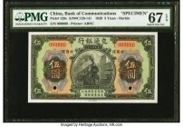 China Bank of Communications, Harbin 5 Yuan 1.12.1920 Pick 129s S/M#C126-141 Specimen PMG Superb Gem Unc 67 EPQ. An exceptional Specimen printed for t...