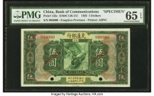 China Bank of Communications 5 Dollars 1.1.1923 Pick 132s S/M#C126-151 Specimen PMG Gem Uncirculated 65 EPQ. A charming Specimen from Fengtien Provinc...