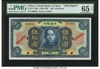 China Central Bank of China 50 Dollars 1923 Pick 178Bs S/M#C305 Specimen PMG Gem Uncirculated 65 EPQ. As is so often the case, the 50 Dollar denominat...