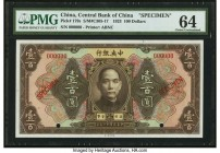 China Central Bank of China 100 Dollars 1923 Pick 179s S/M#C305-17 Specimen PMG Choice Uncirculated 64. A scarce, highest denomination type, this note...
