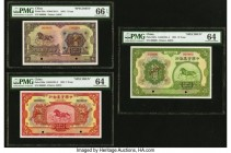 China National Industrial Bank of China 1; 5; 10 Yuan 1924 Pick 525s; 526s; 527s Specimen Trio PMG Gem Uncirculated 66 EPQ; Choice Uncirculated 64 (2)...