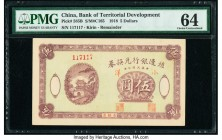 China Bank of Territorial Development 5 Dollars 1918 Pick 585B Remainder PMG Choice Uncirculated 64. A rare type, this note is the highest denominatio...