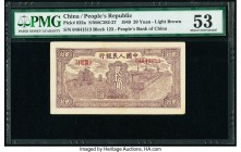 China People's Bank of China 20 Yüan 1949 Pick 822a S/M#C282-27 PMG About Uncirculated 53. From the first series of notes issued for the People's Repu...
