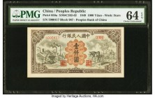 China People's Bank of China 1000 Yuan 1949 Pick 850a S/M#C282-62 PMG Choice Uncirculated 64 EPQ. A famed denomination issued in 1949, this banknote i...