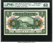 China Bank of Canton Limited, Hankow 5 Dollars 1.7.1922 Pick S152As S/M#K63-22 Specimen PMG Choice Uncirculated 63. Specimens provide the best option ...