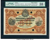 China Hongkong & Shanghai Banking Corporation, Peking 50 Dollars 1.1.1922 Pick S342s S/M#Y13 Specimen PMG Choice About Unc 58 EPQ. One of the most dra...