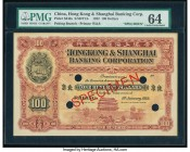 China Hongkong & Shanghai Banking Corporation, Peking 100 Dollars 1.1.1922 Pick S343s S/M#Y13 Specimen PMG Choice Uncirculated 64. A stunning design i...