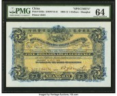 China Hongkong & Shanghai Banking Corporation, Shanghai 5 Dollars 1.7.1909 Pick S352s S/M#Y13-31 Specimen PMG Choice Uncirculated 64. An iconic Bradbu...