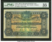China Hongkong & Shanghai Banking Corporation, Shanghai 5 Dollars 1.3.1923 Pick S353 S/M#Y13-40 PMG Choice Very Fine 35. Widely collected and popular,...