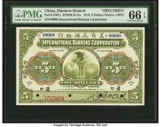 China International Banking Corporation, Hankow 5 Dollars 1.7.1918 Pick S407s S/M#M10-41a Specimen PMG Gem Uncirculated 66 EPQ. A beautiful and rare t...