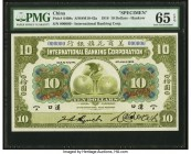 China International Banking Corporation, Hankow 10 Dollars 1.7.1918 Pick S408s S/M#M10-42a Specimen PMG Gem Uncirculated 65 EPQ. An elegant, large for...