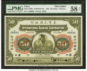 China International Banking Corporation, Hankow 50 Dollars 1.7.1918 Pick S409s S/M#M10-43a Specimen PMG Choice About Unc 58 EPQ. As is so often the ca...