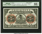 China International Banking Corporation, Peking 5 Dollars 1.1.1910 Pick S413s S/M#M10-21 Specimen PMG Gem Uncirculated 66 EPQ. The second denomination...