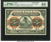 China International Banking Corporation, Tientsin 5 Dollars 1.7.1918 Pick S430s S/M#M10-41b Specimen PMG Choice Uncirculated 64 EPQ. Multicolor rosett...
