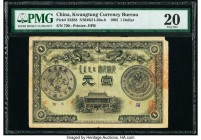 China Kwangtung Currency Bureau 1 Dollar 1905 Pick S2388 S/M#K51-20a-b PMG Very Fine 20. A rarely seen type, this note features a desirable dragon mot...