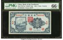China Bank of the Northwest, Tientsin 1 Yuan 1.3.1925 Pick S3871g S/M#H77-30g PMG Gem Uncirculated 66 EPQ. An appealing vignette in a remarkable frame...