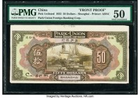 China Park-Union Foreign Banking Corporation, Shanghai 50 Dollars 1.1.1922 Pick UNL Front Proof PMG About Uncirculated 50. A very rare type that was n...