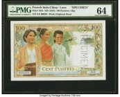 French Indochina Institut d'Emission des Etats, Laos 100 Piastres = 100 Kip ND (1954) Pick 103s Specimen PMG Choice Uncirculated 64. One of the most b...