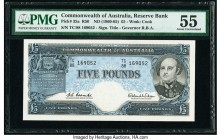 Australia Reserve Bank 5 Pounds ND (1960-65) Pick 35a R50 PMG About Uncirculated 55.   HID09801242017  © 2020 Heritage Auctions | All Rights Reserve