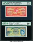 Bermuda Bermuda Government 10 Shillings; 1 Pound 1.5.1957; 20.10.1952 Pick 19b; 20a Two Examples PMG Choice Very Fine 35 EPQ; Very Fine 30 EPQ.   HID0...