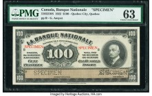 Canada Quebec City, PQ- Banque Nationale $100 2.11.1922 Pick S875s Ch.# 510-22-10S Specimen PMG Choice Uncirculated 63. Roulette Specimen punch; red S...