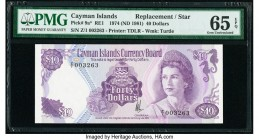 Cayman Islands Currency Board 40 Dollars 1974 (ND 1981) Pick 9a* Replacement PMG Gem Uncirculated 65 EPQ.   HID09801242017  © 2020 Heritage Auctions |...