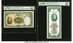 China Central Bank of China 100 Yuan; 20 Customs Gold Units 1936; 1930 Pick 220a; 328 Two Examples PMG Gem Uncirculated 65 EPQ (2).   HID09801242017  ...