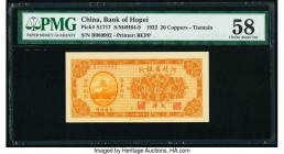 China Bank of Hopei, Tientsin 20 Coppers 1932 Pick S1717 S/M#H64-9 PMG Choice About Unc 58.   HID09801242017  © 2020 Heritage Auctions | All Rights Re...