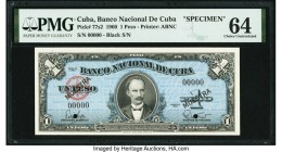 Cuba Banco Nacional de Cuba 1 Peso 1960 Pick 77s2 Specimen PMG Choice Uncirculated 64. Black MUESTRA overprints; two POCs.  HID09801242017  © 2020 Her...