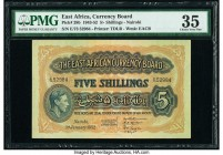 East Africa East African Currency Board 5 Shillings 1.1.1952 Pick 28b PMG Choice Very Fine 35. Previously mounted.  HID09801242017  © 2020 Heritage Au...