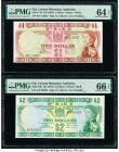 Fiji Central Monetary Authority 1; 2 Dollars ND (1974) Pick 71b; 72b Two Examples PMG Choice Uncirculated 64 EPQ; Gem Uncirculated 66 EPQ.   HID098012...