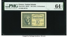 Greece Ionian Islands, Biglietto A Corso Legale 10 Drachmai ND (1941) Pick M13 PMG Choice Uncirculated 64 EPQ.   HID09801242017  © 2020 Heritage Aucti...
