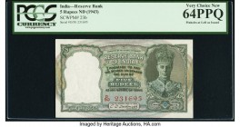 India Reserve Bank of India 5 Rupees ND (1943) Pick 23b Jhun4.4.2 PCGS Very Choice New 64PPQ. Pinholes at left as issued.  HID09801242017  © 2020 Heri...