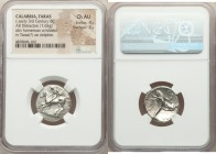 CALABRIA. Tarentum. Ca. 302-280 BC. AR didrachm or stater (21mm, 7.65 gm, 4h). NGC Choice AU 4/5 - 3/5. Philocles, Si- and Ly-, magistrates. Nude yout...