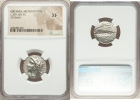 LUCANIA. Metapontum. Ca. 330-280 BC. AR stater (20mm, 9h). NGC XF. Atha-, magistrate. Head of Demeter left, wreathed in corn ears / META, barley ear w...